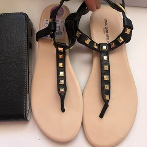 Karl Lagerfeld black sandals  with gold studs